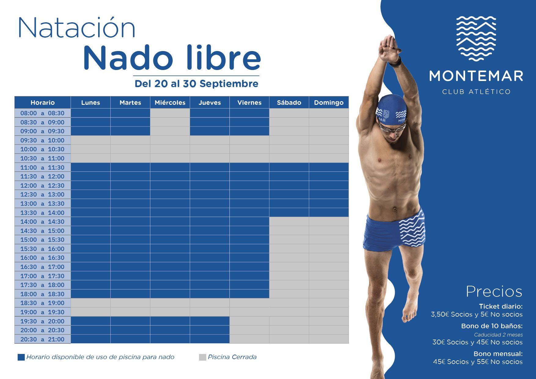 Nado Libre en Septiembre en Montemar